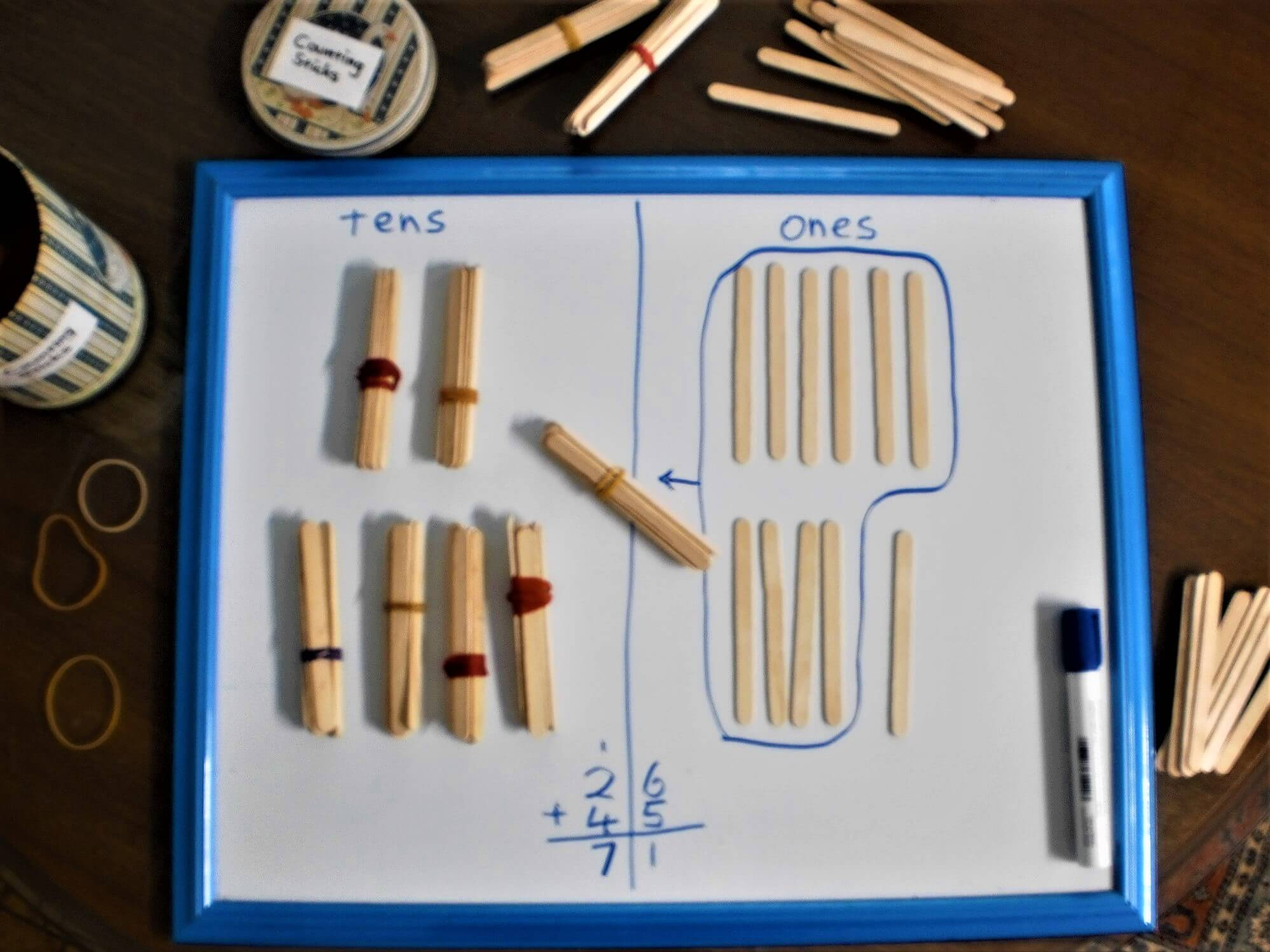 Bundled and single icy-pole sticks used to illustrate addition on a place value chart.