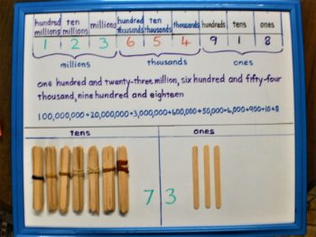Place Value shown from ones to hundred millions on whiteboard
