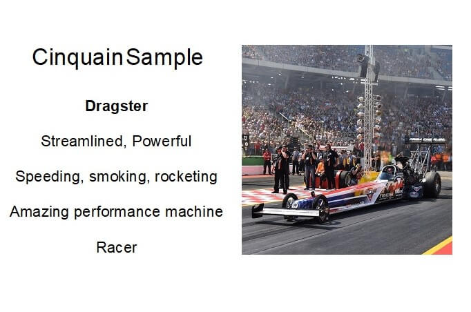 Cinquain poem of five lines about a dragster.