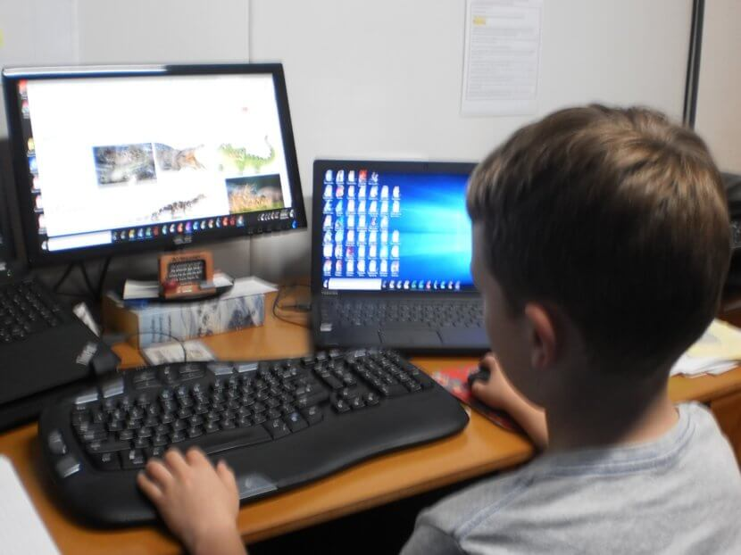 Young boy engaged with a desktop computer